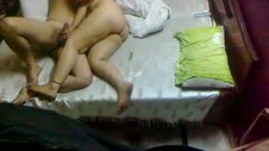 Couple in bed enjoying have all