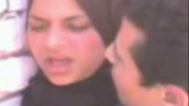 Arab hijab woman outdoor foreplay