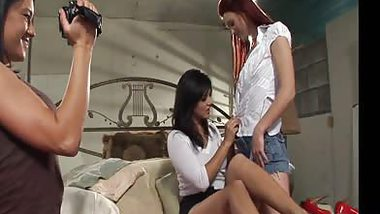 Filming turns to lesbian threesome