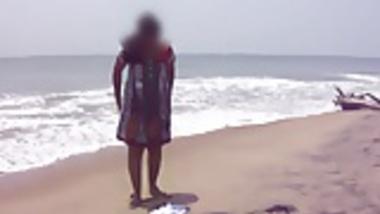 Desi Wife On Beach - Canging Lower Dress