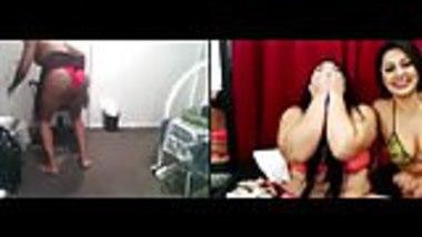 Humiliated monkey striptease (2 cam girls)