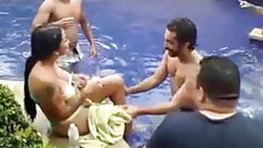 punjabi pool party with a topless foreigner girl