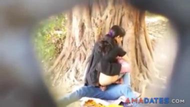 Desi girl caught riding cock in the park