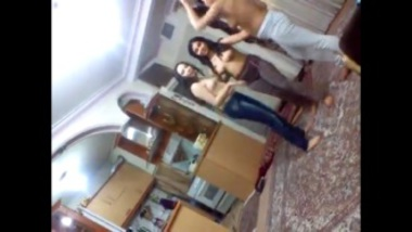 Indian topless girls having fun in ladies hostel