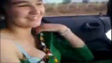 Massaging Pakistani Girl's Big Boobs In Car
