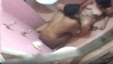 Desi horny couple caught having sex in bathroom