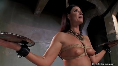 Tied MILF is anal toyed in training