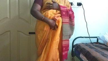 desi indian horny tamil telugu kannada malayalam hindi cheating wife vanitha wearing orange colour saree showing big boobs and shaved pussy press ha