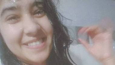 Indian cute teen in wet transparent bra in the bathroom
