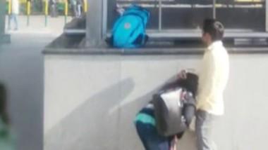 Blowjob and boobs sucking at metro station