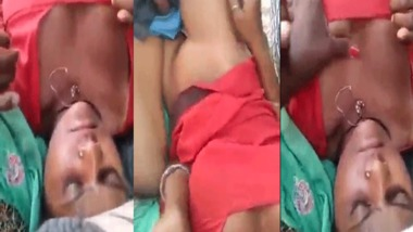Dehati threesome outdoor sex video looks good