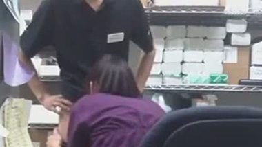 Teen caught shoplifting gets fucked by the store manager