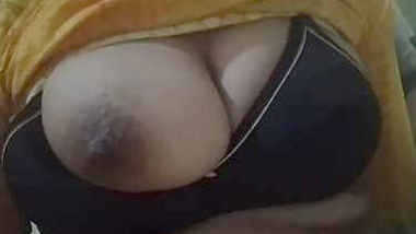 Desi wife big boobs pressing and showing by hubby in different bra 1