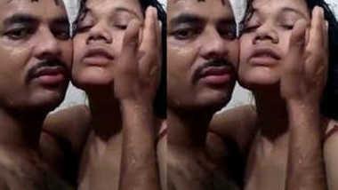 Desi female is made for sex so XXX partner kisses her in the shower