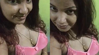 Chubby Desi minx plays with XXX boobs and pussy in solo sex video