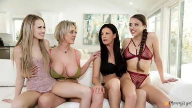 HOT Busty Stepmoms Go Down On Their Stepdaughters