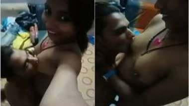 Man asked Desi woman to suck XXX nipples while she is holding the camera